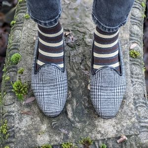 Vintage Needlepoint Checkered Grey and Black Flats